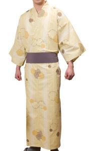 男女兼用リネン浴衣(雪化粧)